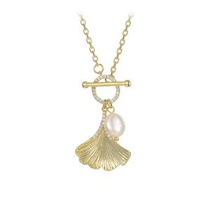 Jewelry - 14k gold plated cz diamond & pearl shell necklace